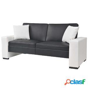 Sofá cama con reposabrazos de PVC ajustable negro