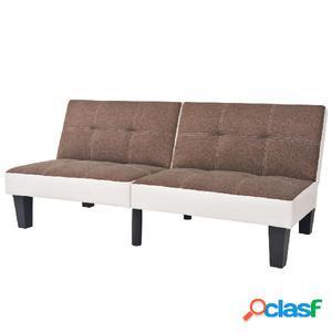 Sofá cama de tela y PVC ajustable marrón y blanco