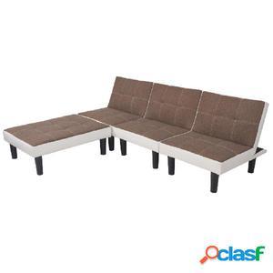 Sofá cama doble modular de tela y PVC marrón y blanco