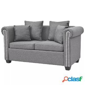Sofá de 2 plazas de tela gris claro 143x75x73 cm