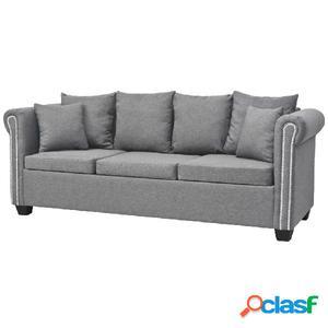 Sofá de 3 plazas de tela gris claro 200x75x73 cm