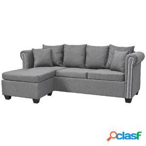 Sofá en forma de L tela gris claro 200x140x73 cm
