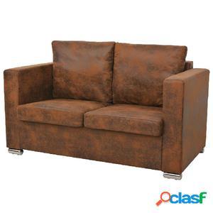 Sofa de 2 plazas 137x73x82 cm piel de ante artificial
