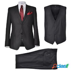 Traje de chaqueta de hombre 3 piezas talla 56 negro