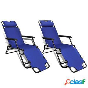 Tumbonas plegables con reposapiés ajustable 2 unidades azul