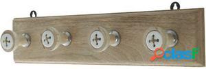 Wellindal Perchero madera con 4 ganchos cerámica