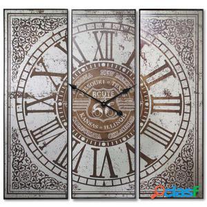 Wellindal Reloj pared hierro y madera en tríptico