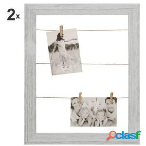 Wellindal Set 2 Portafotos tendedero madera cm con pinzas