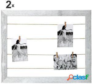 Wellindal Set 2 Portafotos tendedero madera con pinzas para