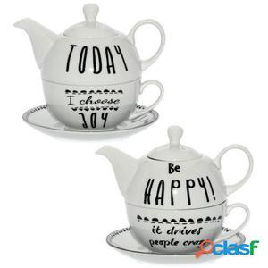 Wellindal Set 2 tazas con tetera y plato porcelana