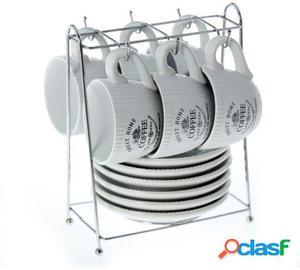 Wellindal Set 6 tazas con plato cerámica con soporte metal