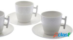 Wellindal Set 6 tazas con plato cerámica en caja regalo