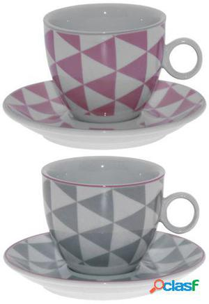 Wellindal Set 6 tazas con plato porcelana