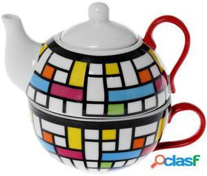 Wellindal Set 6 tazas con tetera cerámica