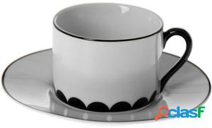 Wellindal Set 6 tazas té con plato cerámica con caja