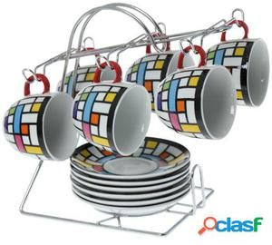 Wellindal Set 6 tazas té con plato cerámica con soporte