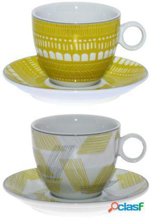 Wellindal Set 6 tazas té con plato porcelana