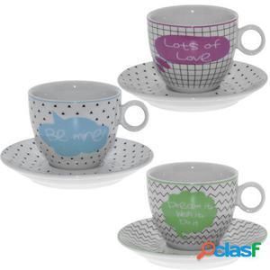 Wellindal Set 6 tazas tcon plato porcelana