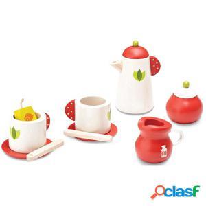 Wonderworld Juego de té de madera rojo y blanco HOUT192436