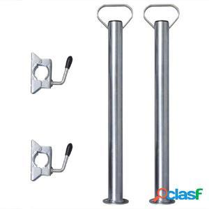 2 tubos de soporte con 2 abrazaderas para rueda jockey de 48