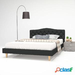 Cama con colchón viscoelástico 140x200 cm tela gris oscuro