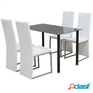 Conjunto de Comedor Elegante de Cinco Piezas de Color Blanco