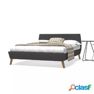 Cama con colchón 140x200 cm tela gris oscuro