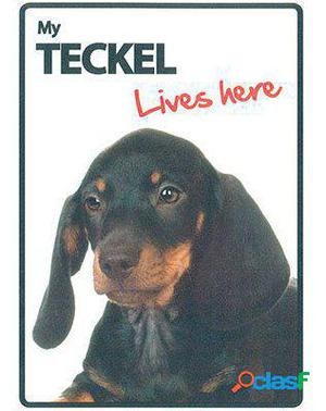 Magnet & Steel Señal A5 My Teckel Lives Here Negro 100 GR