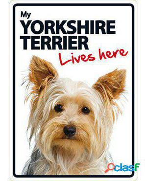 Magnet & Steel Señal A5 My Yorkshire Terrier Lives Here 100