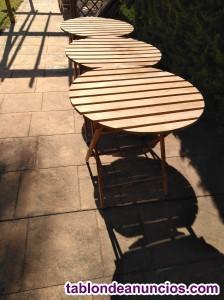 Se venden 3 mesas madera de exterior