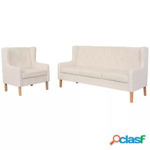 Set de sofás de 2 piezas de tela color blanco crema