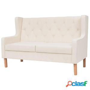 Sofá de 2 plazas de tela color blanco crema