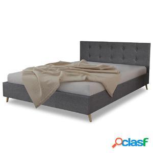 Cama de tela gris oscuro con colchón 140x200 cm
