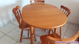 Mesa y 4 sillas pino macizo