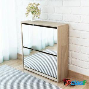 Mueble zapatero de roble 2 compartimentos con espejo