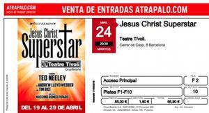 Vendo 2 entradas para jesus christ superstar, dia 24, fila 2