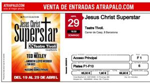 Vendo 2 entradas para jesus christ superstar dia 29, fila 1