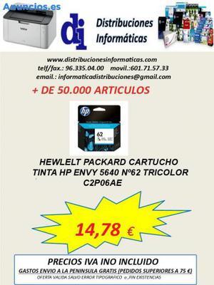 C2P06AE. HP TINTA 62 TRICOLOR ORIGINAL Y NUEVO