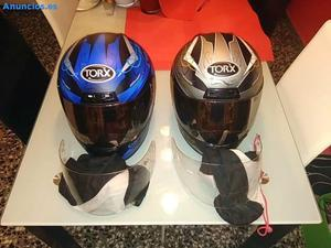 Juego De Dos Cascos Para Moto Motocicleta Azul Y Negro