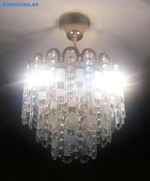 LAMPARA DE CRISTAL EN TONOS VERDES