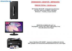 ORDENADOR HP I5 + MONITOR + IMPRESORA