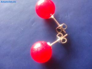 Pendientes De Jade Rojo Y Plata