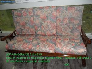 SOFÁ MADERA DE 3 PLAZAS