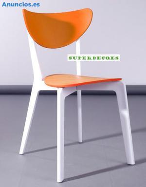 Silla Apilable De Polipropileno, Color Naranja
