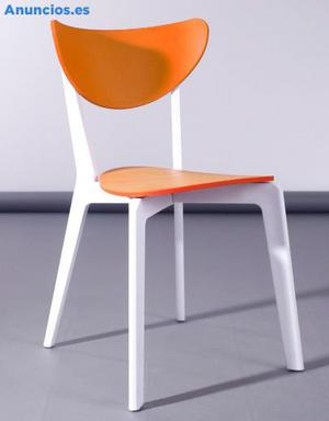 Silla Moderna De Polipropileno Linda, Color Naranja