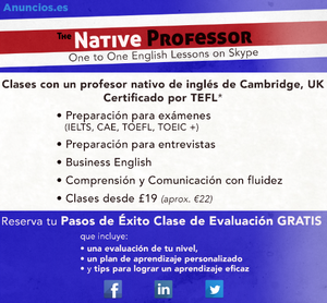 Clases De Ingles, Skype, Profesor Nativo Cambridge