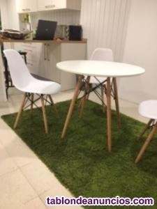 Conjunto de mesa redonda y 6 sillas