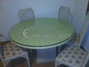 Mesa de salom con ocho sillas y litera de aluminio