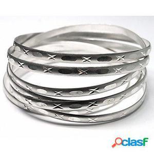 Pulseras semanario plata mate y talladas 65 mm. de diámetro