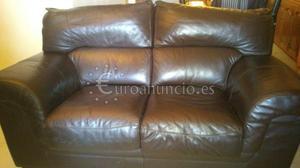 Sofa de Piel Marron Oscuro 2 Plazas